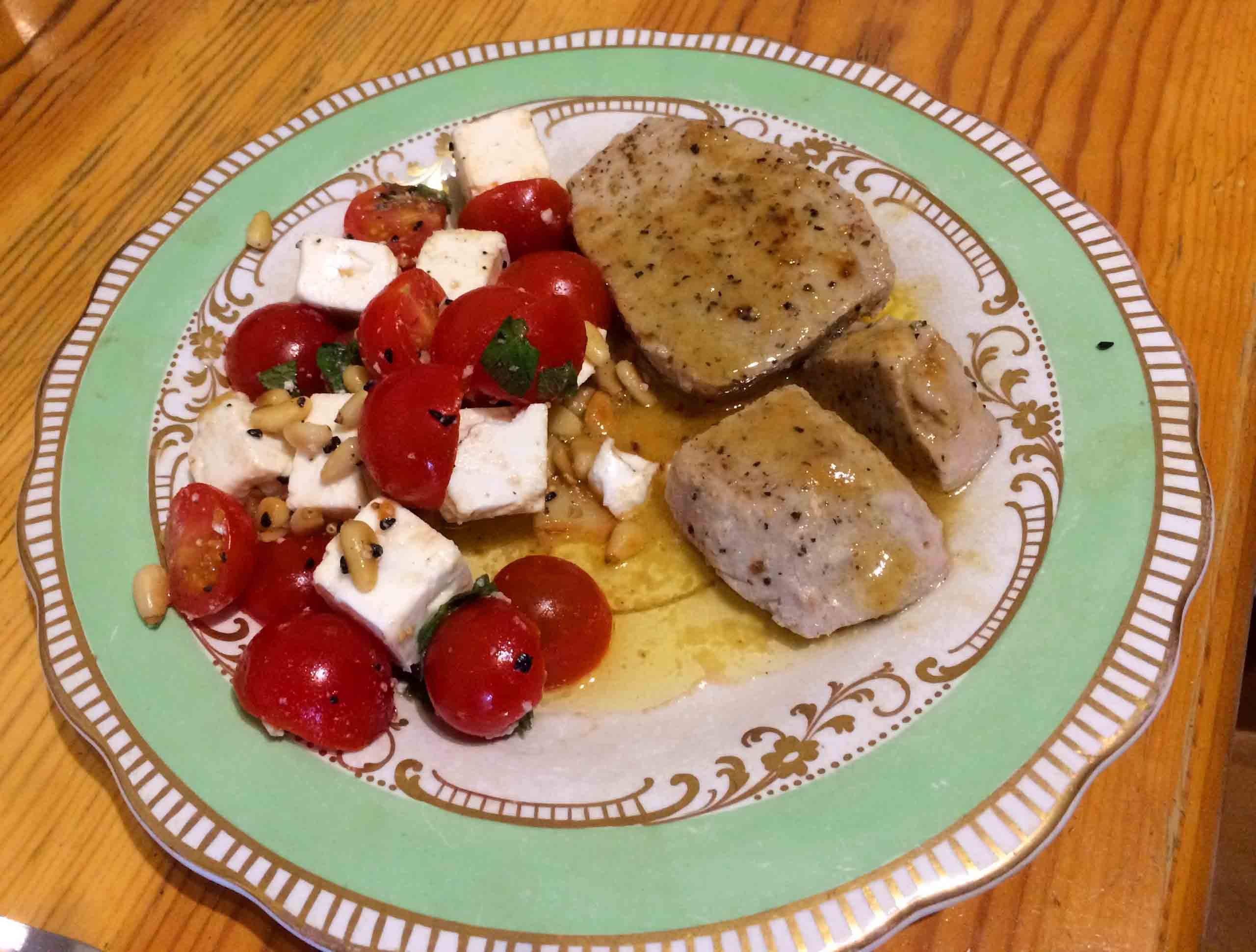 Tuna Steaks With Tomato & Feta Salad Recipe