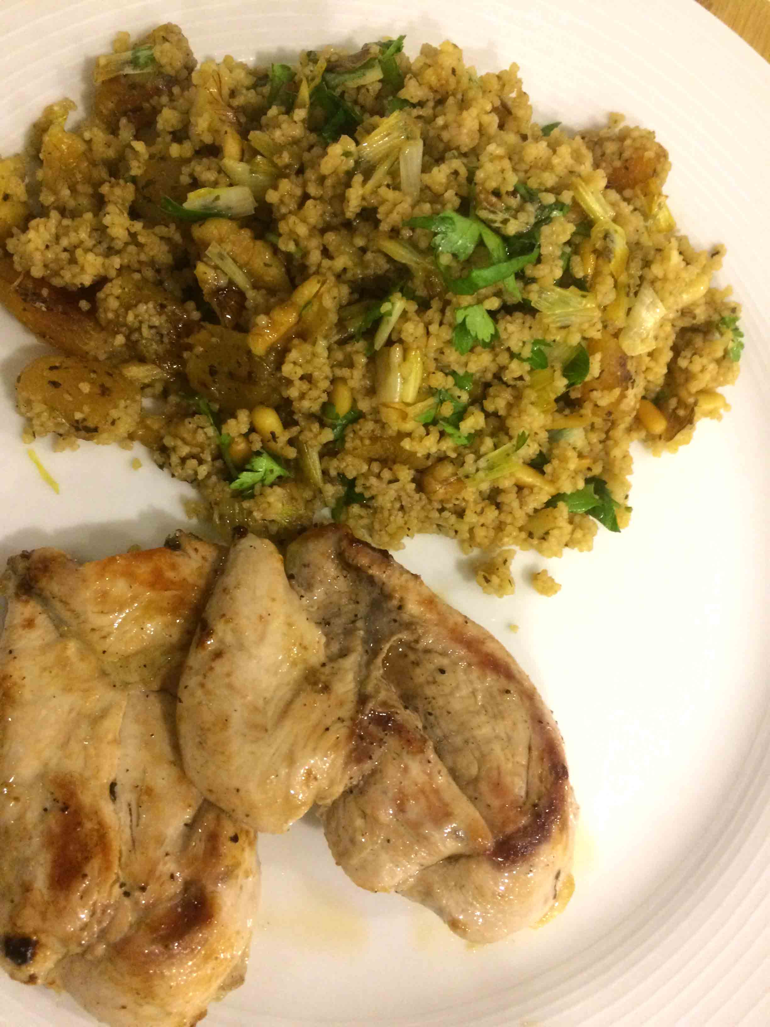 Partridge With Apricot, Pine Nut, and Walnut Couscous Recipe