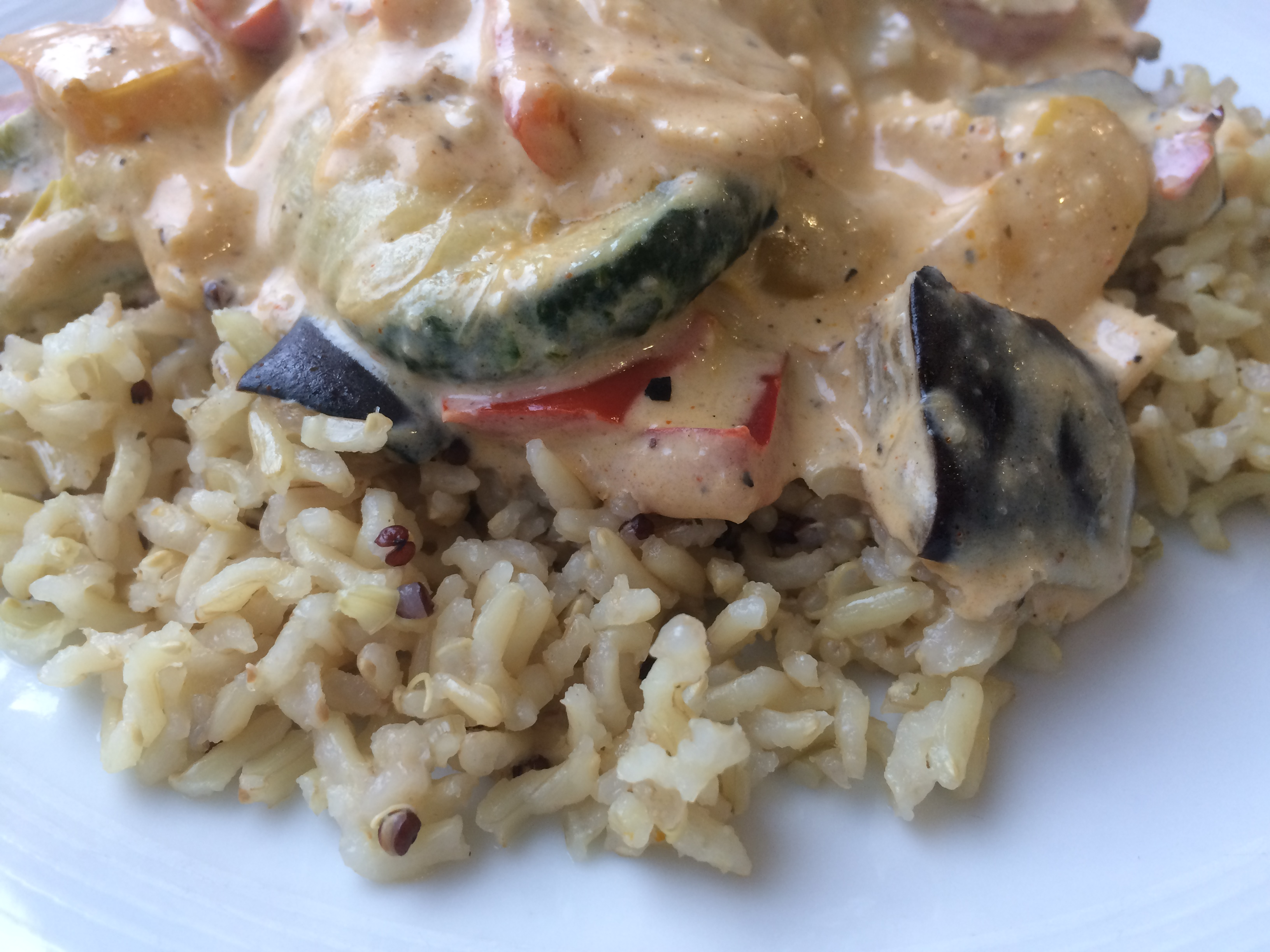 Grilled Vegetables With Cheese Sauce & Brown Rice Recipe