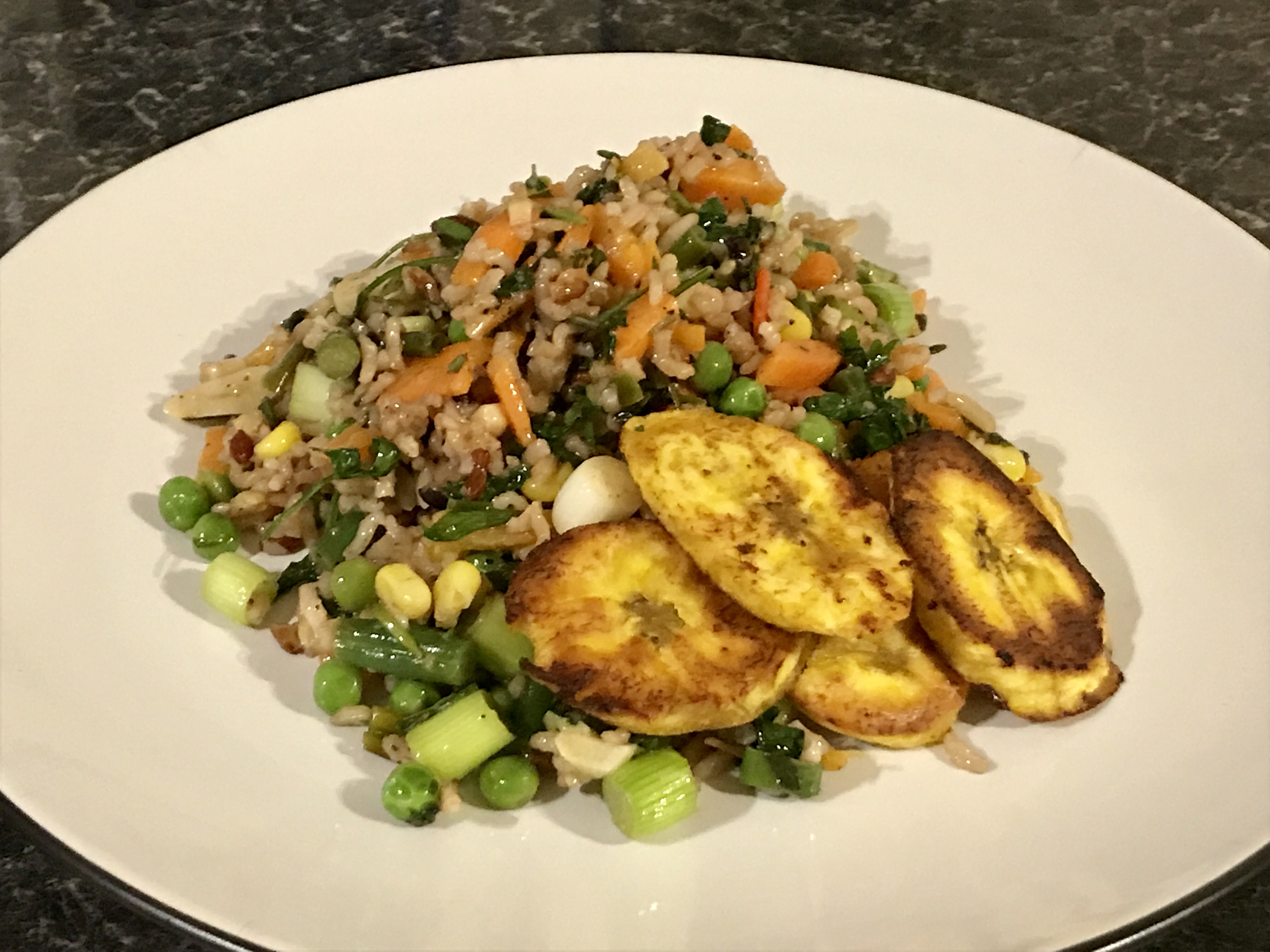 Latin American mixed rice salad with plantains
