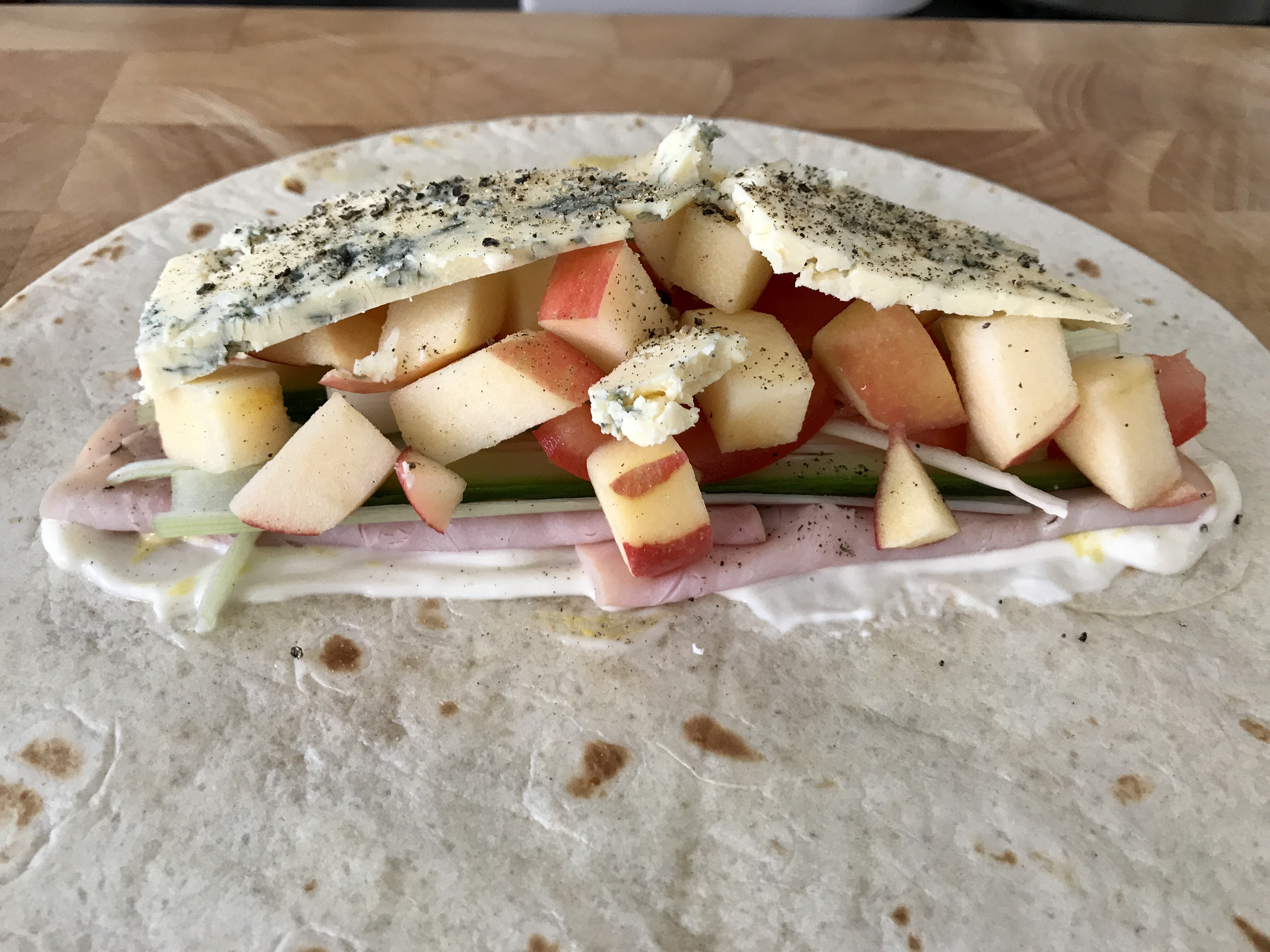 Pork, Apple, Blue Cheese Wrap
