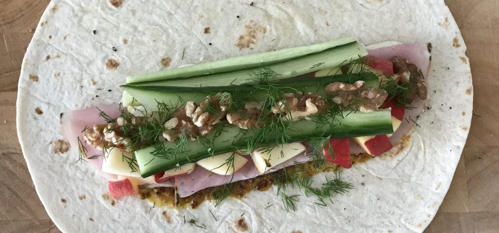 Pork, apple, and walnut wrap