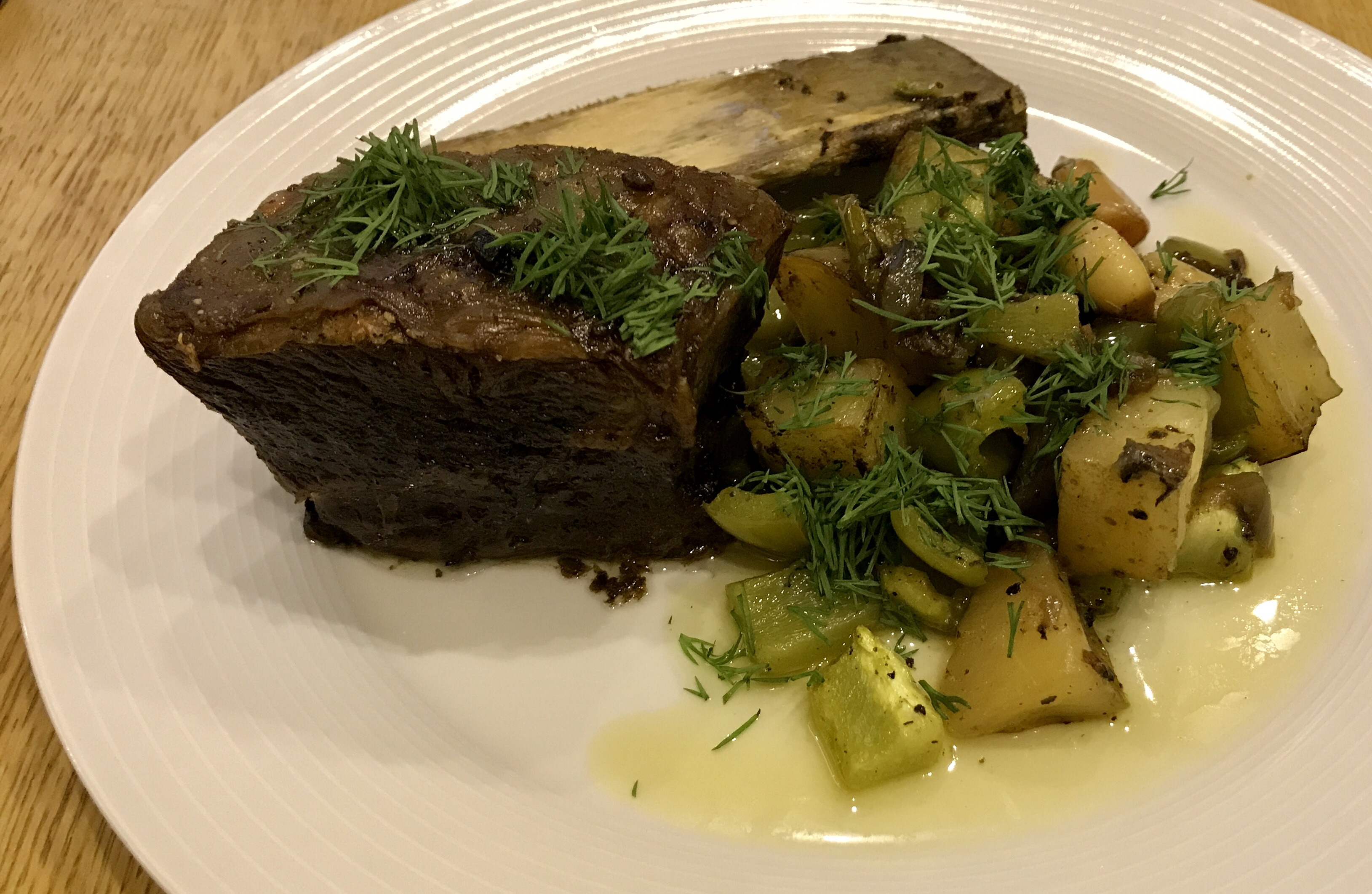Slow-cooked beef short rib and potatoes recipe